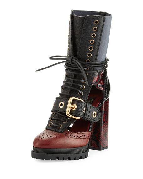 Westmarsh Leather & Snakeskin Cutout Ankle Boot, Burgundy Red