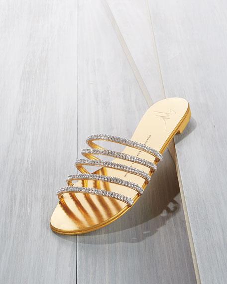 Crystal-Embellished Multi-Strap Slide Sandal