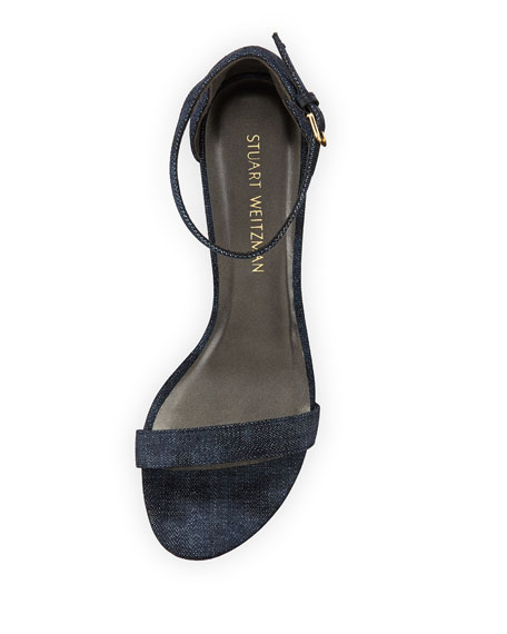 Nearlynude Denim City Sandals, Navy