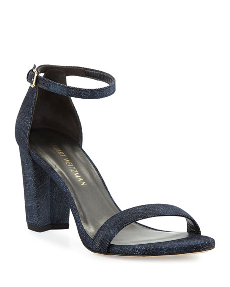 Stuart Weitzman Nearlynude Denim City Sandal, Navy