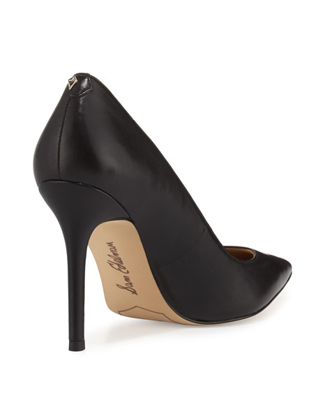 Sam Edelman Hazel Pointed-Toe Leather Pumps, Black