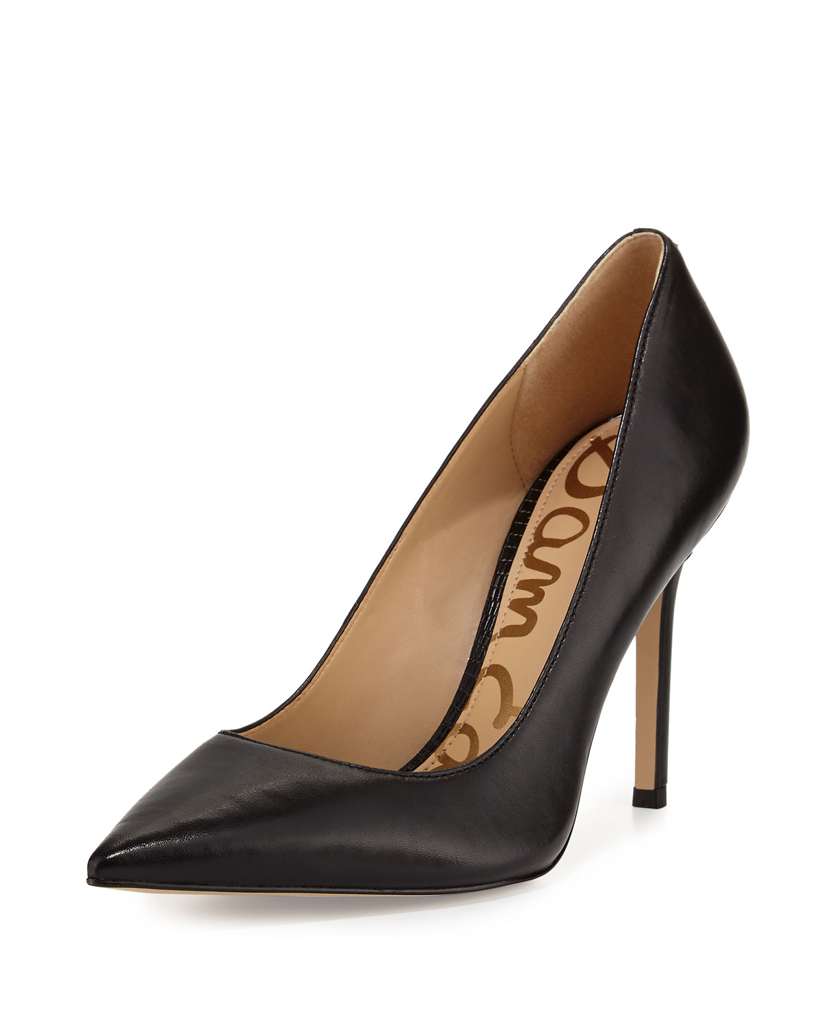 d0e9fe7a5e Sam Edelman Hazel Pointed-Toe Leather Pumps, Black | Neiman Marcus