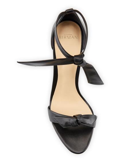 Alexandre Birman Clarita Leather Ankle-Tie 100mm Sandals, Black