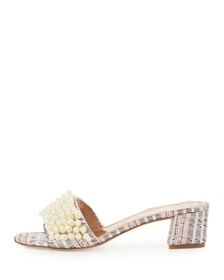 Image 3 of 5: Tatiana Pearly Tweed Slide Sandal, Pink/Metallic