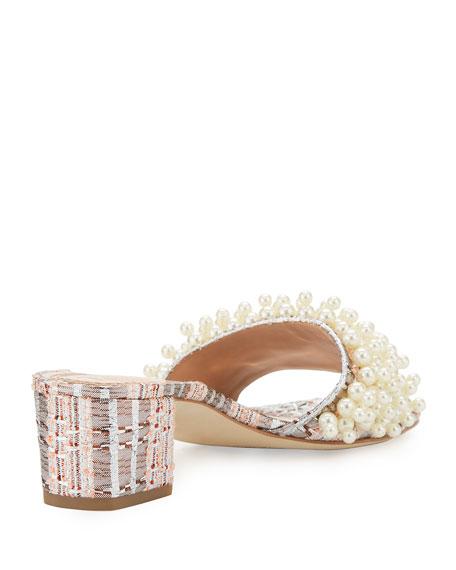 Tory Burch Tatiana Pearly Tweed Slide Sandal, Pink/Metallic
