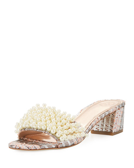 Image 1 of 5: Tatiana Pearly Tweed Slide Sandal, Pink/Metallic