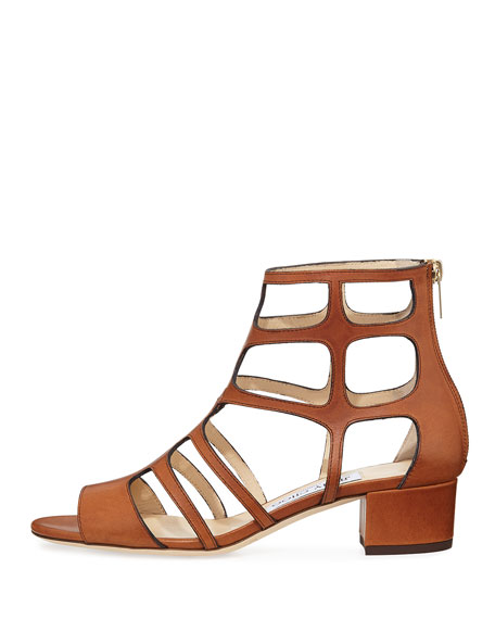 Ren Leather Caged 35mm Sandal, Canyon Brown