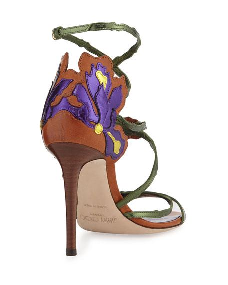 Jimmy Choo Lolita Floral Strappy 100mm Sandal, Canyon/Mix