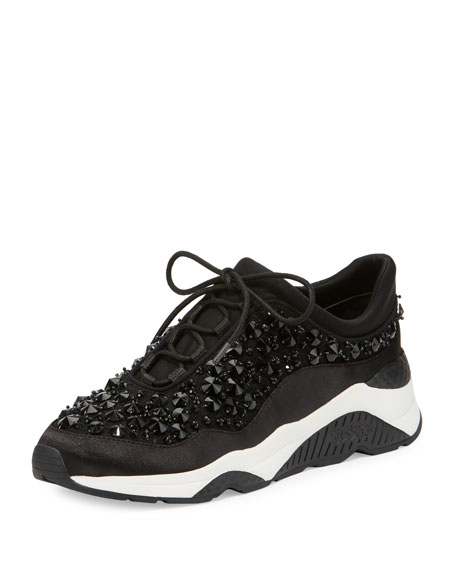 Ash Muse Beaded Lace-Up Sneakers, Black