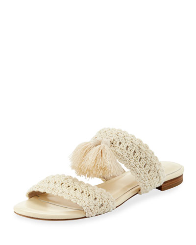 Faina Crochet Flat City Slide Sandal, White