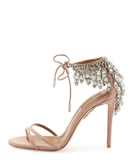 Eden Crystal-Embellished Sandals, Powder Pink
