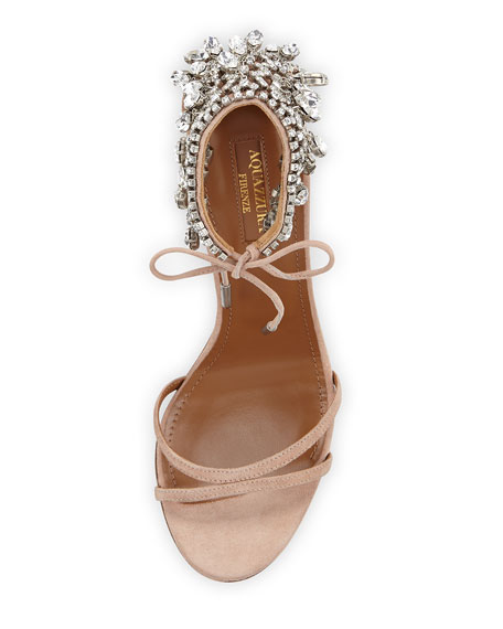 Aquazzura Eden Crystal-Embellished Sandals, Powder Pink