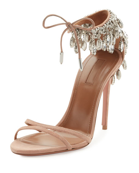 Aquazzura Eden Crystal-Embellished Sandals, Powder Pink