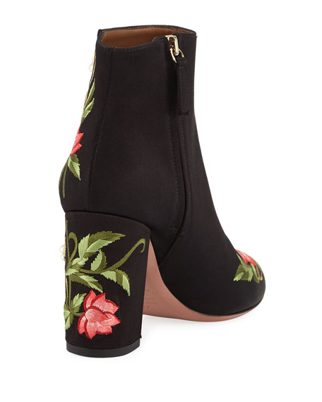 Lotus Satin Floral-Embroidered Booties, Black