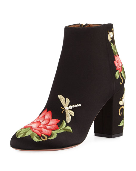 Aquazzura Lotus Satin Floral-Embroidered Bootie, Black