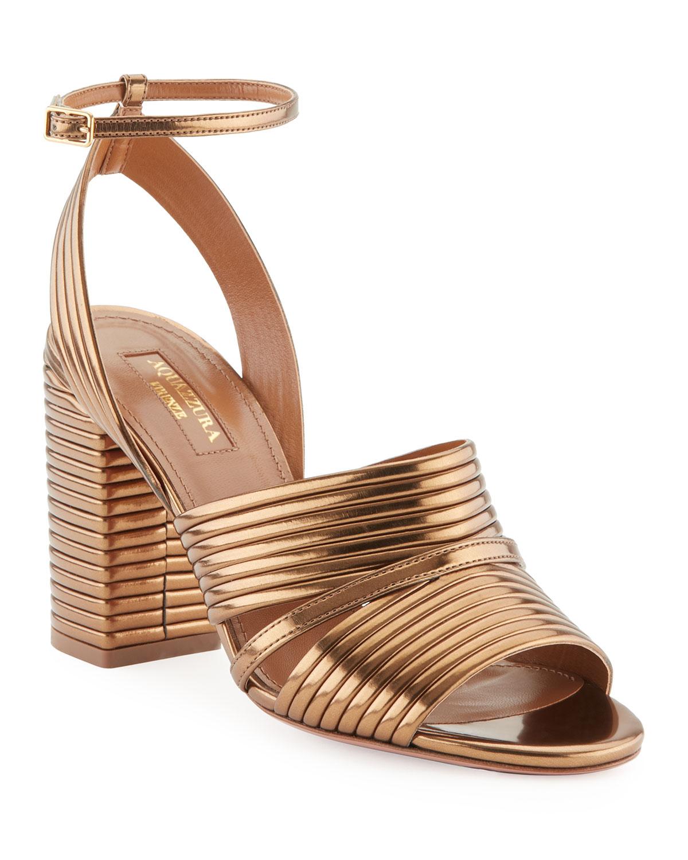 f600061380 Aquazzura Sundance Metallic Leather Block-Heel Sandals, Antique Gold ...