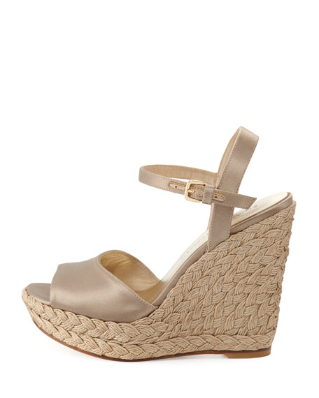 Clean Satin Wedge Espadrille Sandal