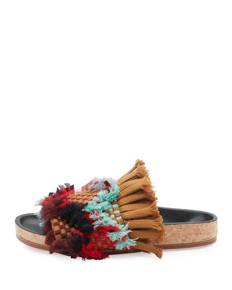 Kerenn Woven Fringe Slide Sandals, Tan