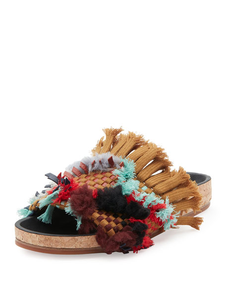 Chloe Kerenn Woven Fringe Slide Sandals, Tan
