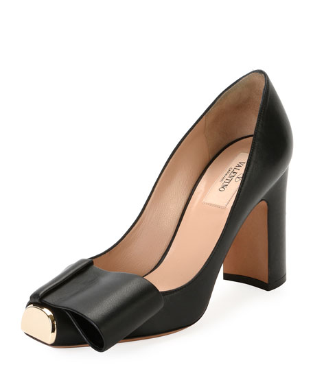 Chunky-Heel Metal-Toe Leather Pump