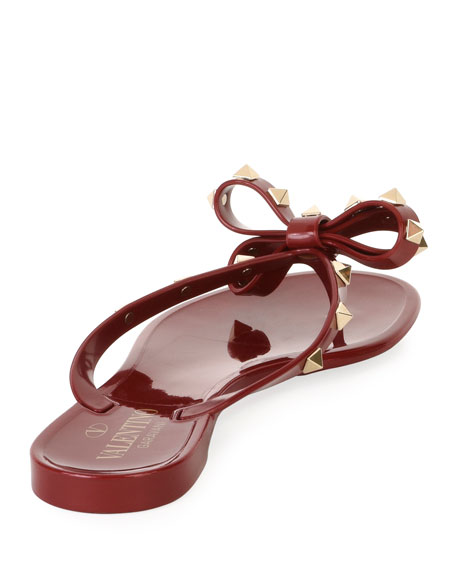 Jelly Rockstud Flat Thong Sandals