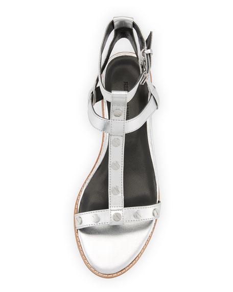 Sandy Studded Strappy Flat Sandal, Silver