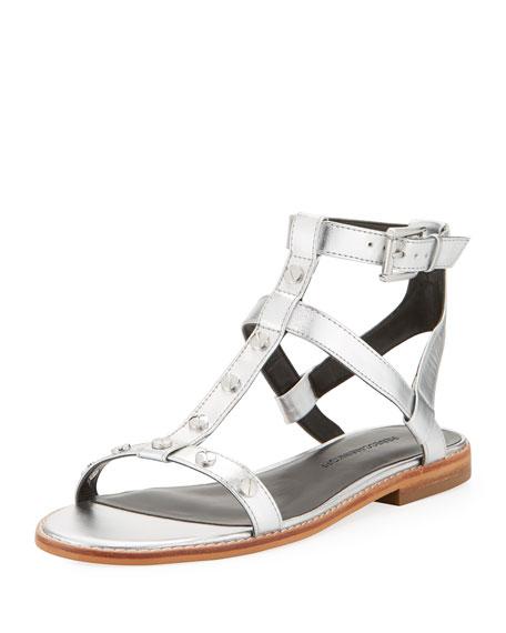 Rebecca Minkoff Sandy Studded Strappy Flat Sandal, Silver
