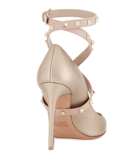 Rockstud Crisscross Ankle-Wrap Pumps, Metallic Nude