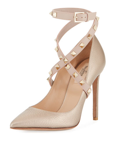 Rockstud Crisscross Ankle-Wrap Pump, Metallic Nude