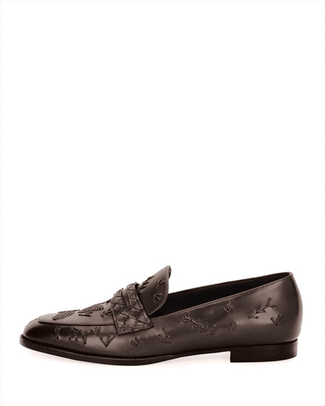 Stitched Slip-On Leather Penny Loafer, Brown