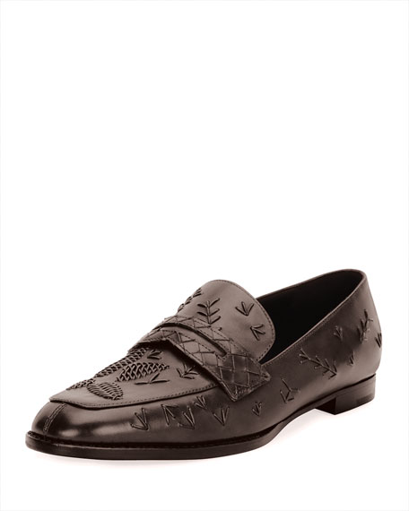 Bottega Veneta Stitched Slip-On Leather Penny Loafer