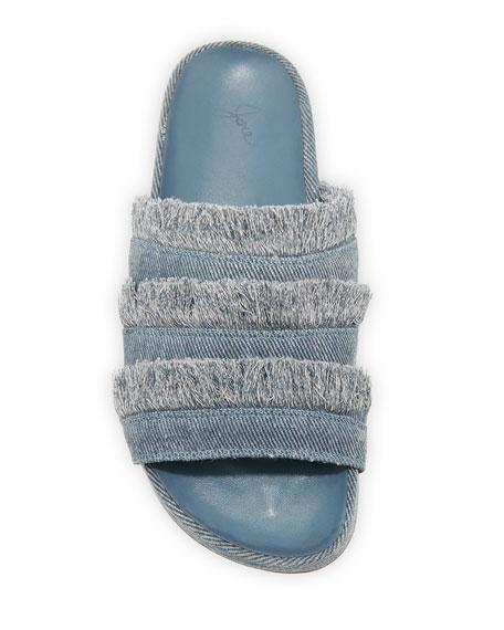 Jaden Frayed Flat Slide Sandals, Dark Denim