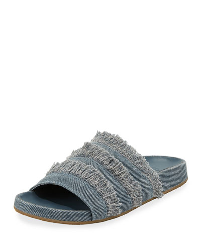 Jaden Frayed Flat Slide Sandal, Dark Denim