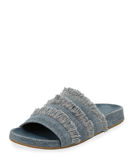Joie Jaden Frayed Flat Slide Sandal, Dark Denim