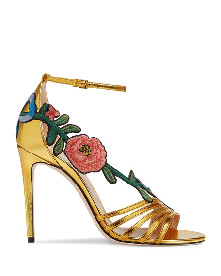 Embroidered Metallic Sandals, Gold