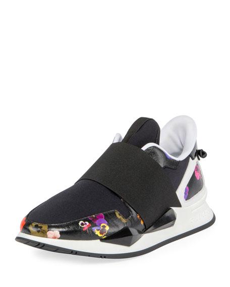 Elastic Pansy Floral-Print Runner Sneaker, Multi