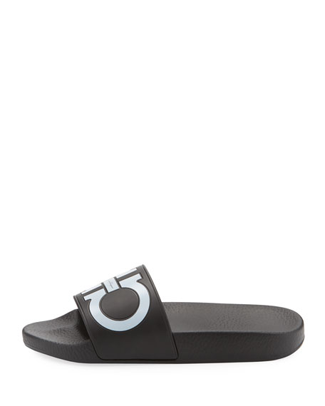 Groove Pool Slide Sandals, Black
