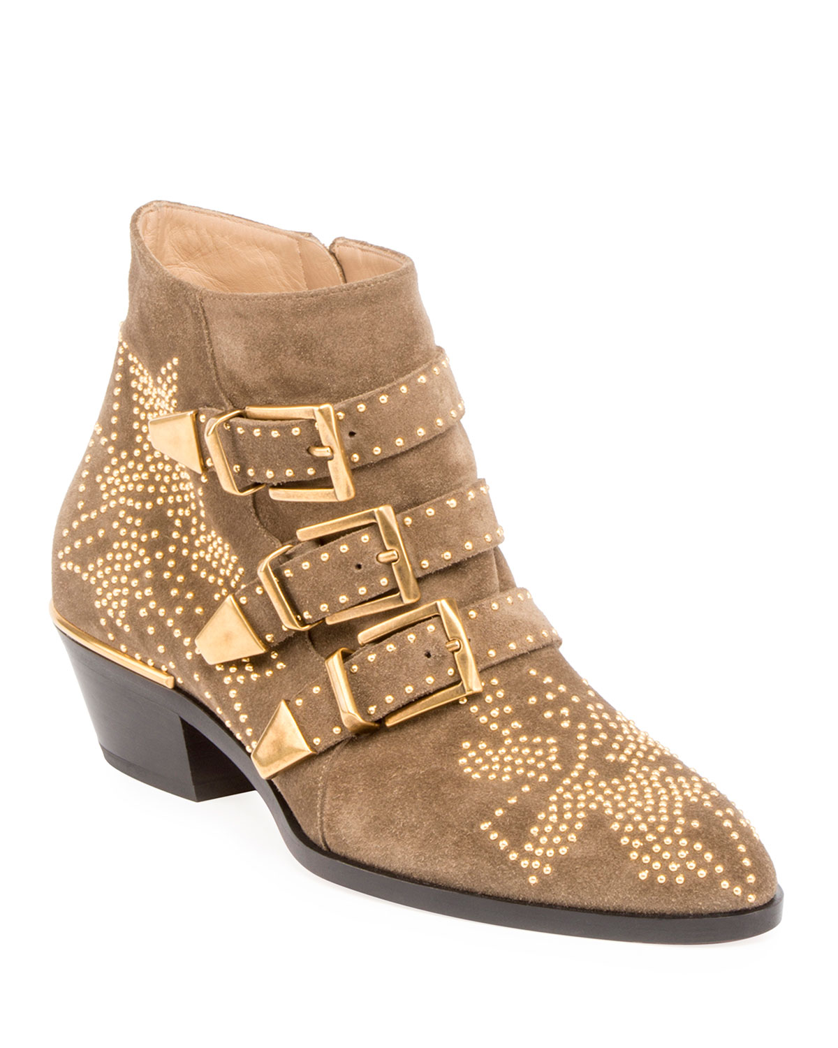 4446cc4b40d6 Chloe Suzanna Studded Suede Buckle Bootie