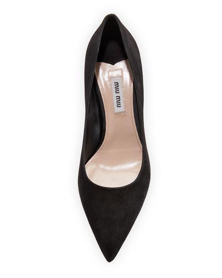 Jewel Pearlescent Heel Pump, Black