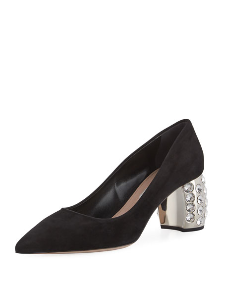 Miu Miu Jewel Pearlescent Heel Pump, Black