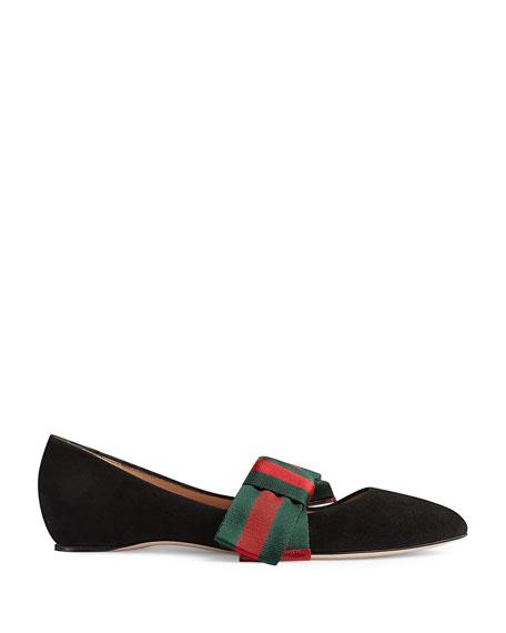 Gucci Web Bow Suede Ballet Flats, Black