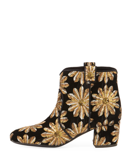 Belen Metallic Embroidered Velvet Western Booties