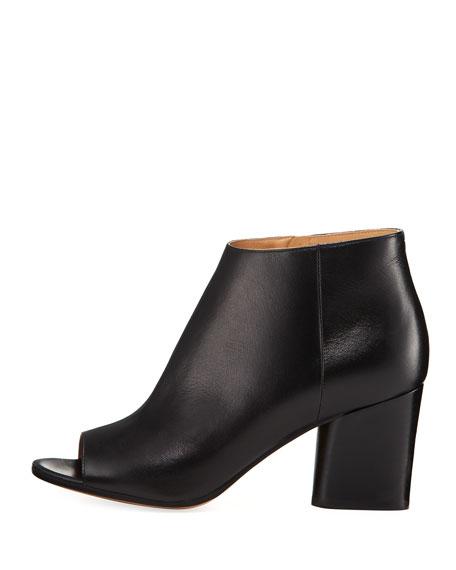Narrow Peep-Toe Leather Bootie