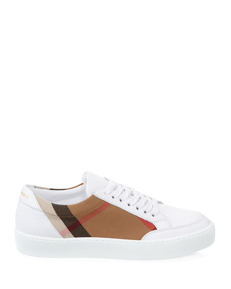 Salmond Check & Leather Sneakers, White