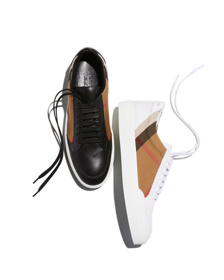 Burberry Salmond Check & Leather Sneakers, White