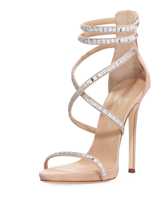 e7b8e5e44ae40 Giuseppe Zanotti for Jennifer Lopez Coline Suede and Crystal Sandal ...