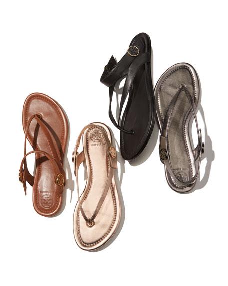 Minnie Metallic Flat Travel Sandals