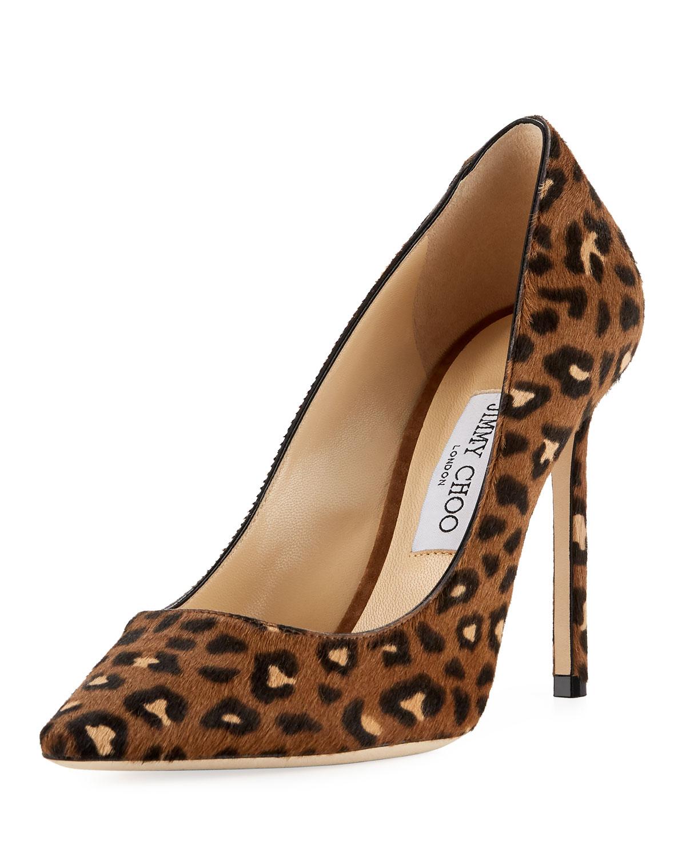 5530d2c21cb Jimmy Choo Romy Leopard Calf Hair Pump