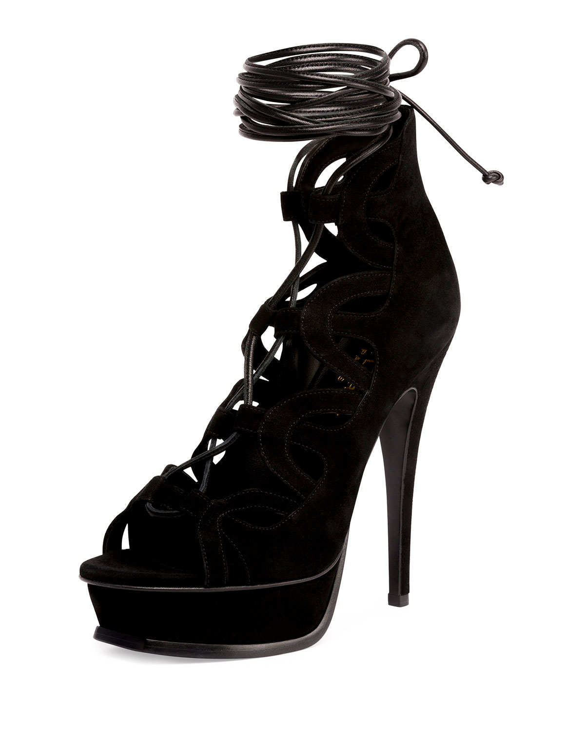 cb2f85b5e19 Saint Laurent Tribute Suede Platform Lace-Up Cage Sandal | Neiman Marcus