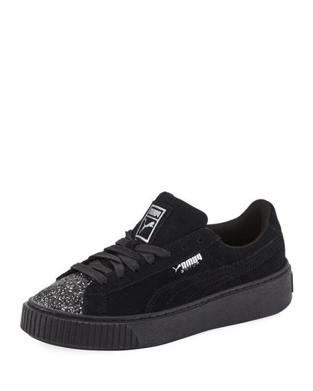 Suede Glittered Platform Sneaker, Black